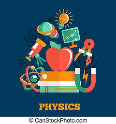 fizyka, nauka, płaski, projektować