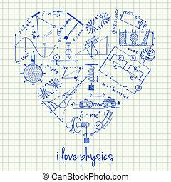 fizyka, rysunki, w, sercowa forma