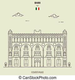 Fizzarotti Palace in Bari, Italy. Landmark icon in linear style