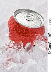 fizzy, boîte, doux, ensemble, glace, rouges, boisson