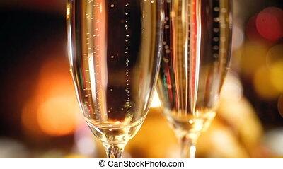fizzy, champagne, mouvement, noël, levée, firepalce, contre...