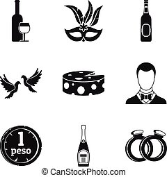 Fizzy drink icons set, simple style