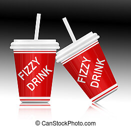 Fizzy drink. - Illustration depicting a single plastic fizzy...
