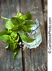 Fizzy drink with mint - Fizzy summer soda drink with mint....