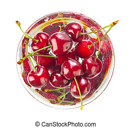 Fizzy soda drink with cherry