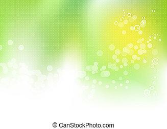 fjäder, abstrakt, grön fond