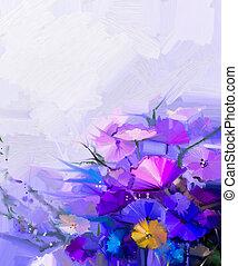 fjäder, abstrakt, oljemålning, flowers.
