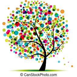fjäder, abstrakt, träd, din, design