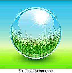 fjäder, bakgrund, glob, med, gräs, interiör.