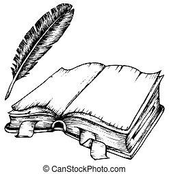 fjäder, bok, öppnat, teckning