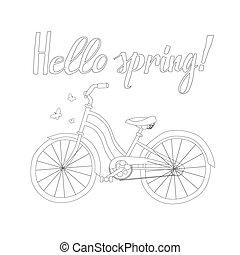fjäder, cykel, skissera, ord, hej