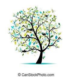 fjäder, design, din, träd