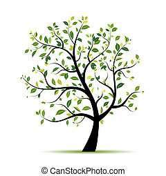 fjäder, design, träd, grön, din