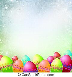 fjäder, eller, påsk, bakgrund, med, färgrik, påsk eggar, och, blomningen, hängande, remsor