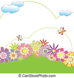fjäder, färgrik, blommig, fjäril