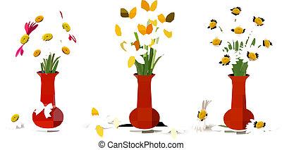 fjäder, färgrika blomstrar, in, vaser