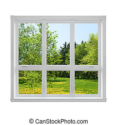 fjäder, fönster, genom, landskap, sett