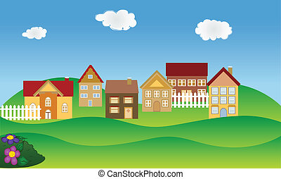 fjäder, grannskap, bostads