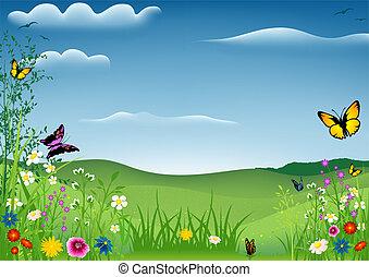fjäder, landskap, med, fjärilar