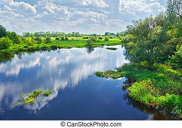 fjäder, landskap, med, narew, flod, och, skyn, på, den, sky