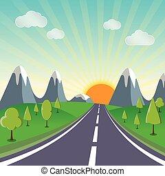 fjäder, landskap, solsken, bakgrund, väg