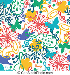 fjäder, musik, symfoni, seamless, mönster, bakgrund