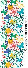 fjäder, musik, symfoni, vertikal, seamless, mönster, bakgrund