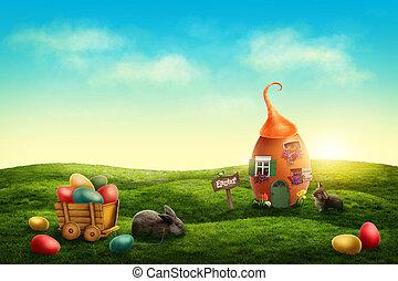 fjäder, påsk, äng