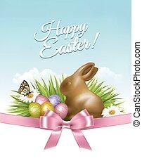 fjäder, påsk, bakgrund., påsk eggar, in, gräs, med, flowers., vector.