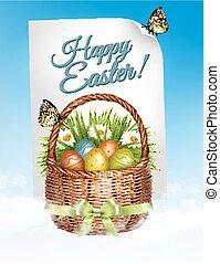 fjäder, påsk, bakgrund., påsk eggar, in, korg, med, flowers., vector.