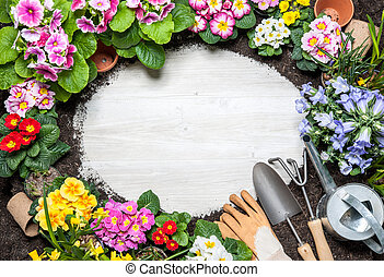 fjäder, ram, blomma, trädgårdsarbete verktyg