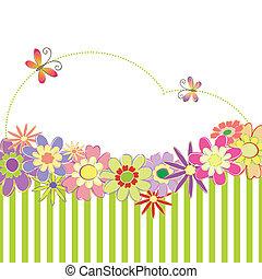 fjäder, sommar, färgrik, blommig