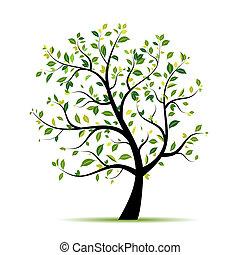 fjäder, träd, grön, för, din, design