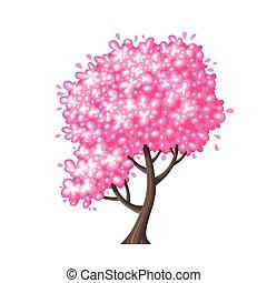 fjäder, träd, illustration