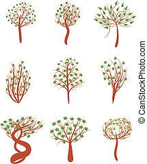 fjäder, träd