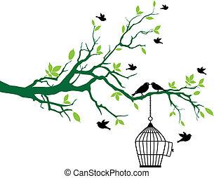 fjäder, träd, med, fågelbur, och, fåglar