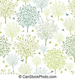 fjäder, träd, seamless, mönster, bakgrund