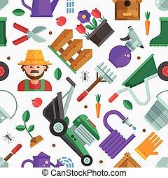 fjäder, trädgårdsarbete, fond mönstra