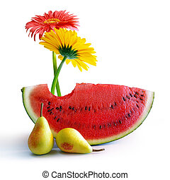 fjäder, vattenmelon