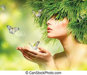 fjäder, woman., sommar, flicka, med, gräs, hår, och, grön, smink