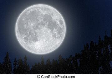 fjäll, över, fullmåne