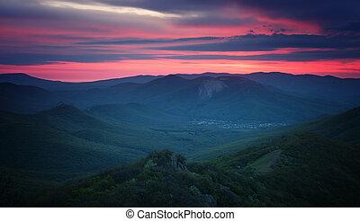 fjäll, över, kullar, soluppgång