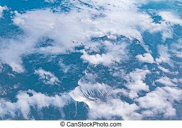 fjäll, airplane, synhåll, fönster., landskap.