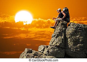 fjäll, bergstopp,  man