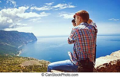 fjäll, bilder, topp, fotograf, sitt, tagande