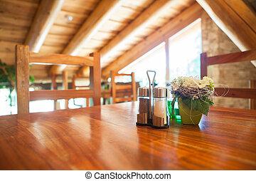 fjäll, chalet, restaurang, trä, -, ett slags tvåsittssoffa