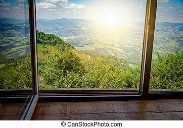 fjäll, fönster, landskap, synhåll