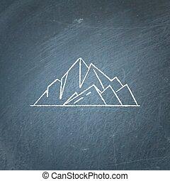 fjäll, ikon, chalkboard, toppar