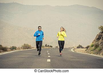 fjäll, kvinna, asfalt, par, tillsammans, spring, attraktiv, väg,  Sport, landskap,  man