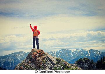 fjäll, kvinna vandring, framgångsrik, backpacker, bergstopp...